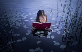 Asian, water, girl, leaves, books, girl outdoors