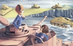 anime, Girls und Panzer, anime girls, Akiyama Yukari, Nishizumi Miho, Ooarai Girls High School