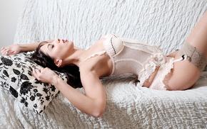 girl, lingerie, white, model