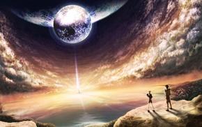 Moon, cliff, anime