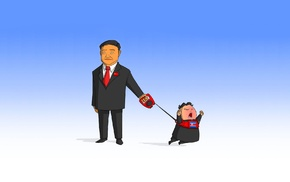 cartoon, leash, North Korea, China