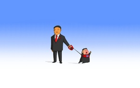 China, cartoon, North Korea, simple background, leash