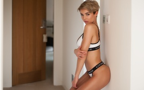 girl, model, underwear, short hair, Jack Russell, Rosie Robinson