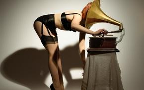 music, lingerie, model, girl