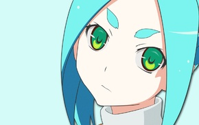 Monogatari Series, anime girls, Ononoki Yotsugi, green eyes, minimalism, anime