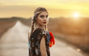 Nebraska, sunset, Jake Olson, looking back, girl outdoors, model