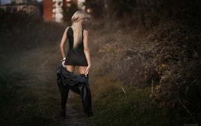 see, through clothing, blonde, thong, back, girl