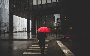 rain, umbrella, street