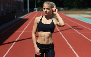blonde, athletes, 6 packs, race tracks, ponytail, fitness model