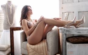 lingerie, girl, sitting, model, high heels