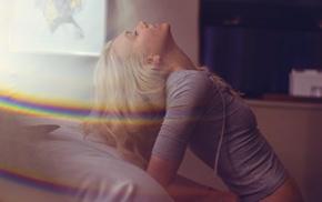model, girl, closed eyes, blonde, rainbows