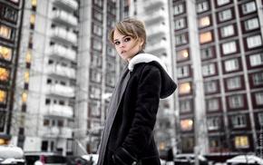city, face, portrait, Maxim Guselnikov, brunette, model