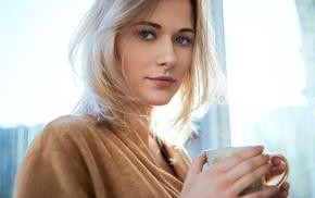 smirk, blonde, girl, looking at viewer, portrait, blue eyes