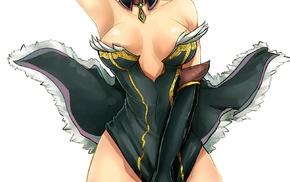 anime girls, anime, cleavage, no bra, witch
