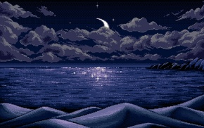 landscape, blue, pixel art, stars, pixels, mountains