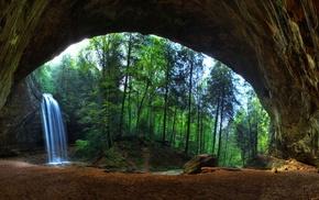 sand, stream, trees, rock, stones, cave
