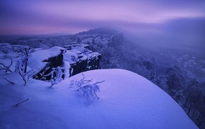 Czech Republic, cliff, snow, photography, landscape, trees