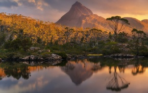 photography, Tasmania, nature, lake, trees, mountains
