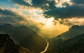sun rays, Vietnam, clouds, photography, nature, sky