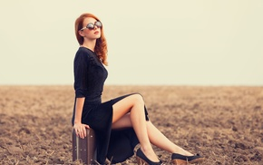 girl outdoors, sunglasses, suitcase, red lipstick, redhead, dress
