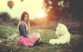girl, hot air balloons, polka dots, teddy bears