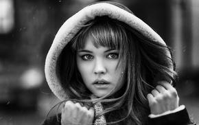 looking at viewer, monochrome, girl, Anastasia Scheglova