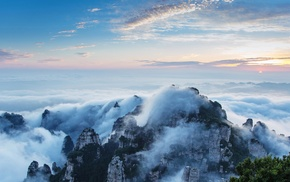 sky, nature, mountains, trees, China, clouds