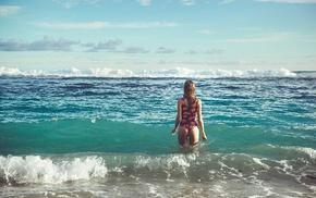 beach, waves, girl, ass, sea
