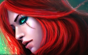 green eyes, redhead, digital art, MagicnaAnavi, Katarina, artwork