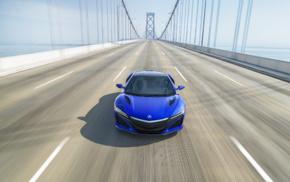 car, motion blur, vehicle, bridge, Acura NSX