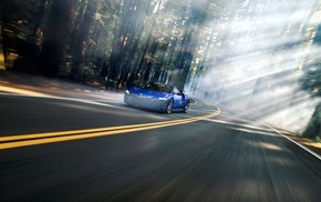 Acura NSX, road, motion blur, forest, mist, vehicle