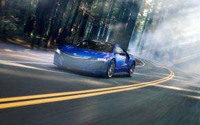 car, dual monitors, motion blur, Acura NSX, mist, road