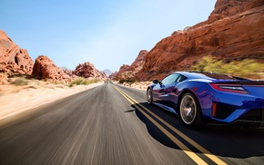 vehicle, road, motion blur, Acura NSX, car