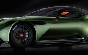 simple background, car, multiple display, dual monitors, Aston Martin Vulcan, spotlights