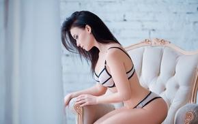 girl, Angelina Petrova, lingerie, long hair, nipple through clothing, chair