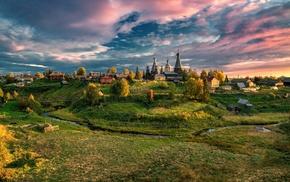 Njonoksa, archangelsk, village, landscape, fall