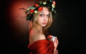 model, wreaths, flowers, girl