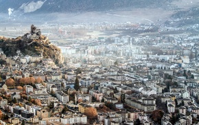 cityscape, city, mountains, Switzerland