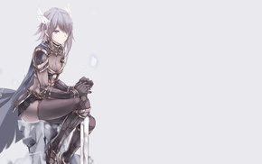anime, cape, original characters, anime girls, skirt, armor