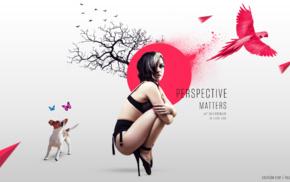 photo manipulation, butterfly, digital art, dog, model, birds