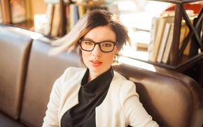 girl, library, glasses