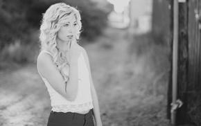 girl, monochrome, Mara Kerr