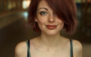 freckles, redhead, Mayya Giter, girl, looking at viewer, green eyes