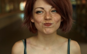 looking away, redhead, green eyes, girl, Mayya Giter, freckles