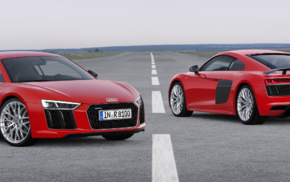 Super Car, dual monitors, red cars, Audi R8, car, multiple display
