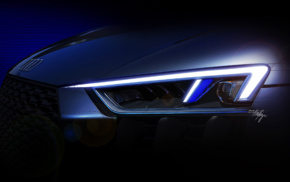 Headlights, Super Car, Audi R8, vehicle, artwork, car