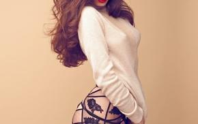 girl, red lipstick, sensual gaze, stockings, no bra, looking at viewer