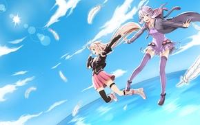 anime girls, IA Vocaloid, feathers, anime, Vocaloid, Yuzuki Yukari