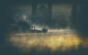 trees, people, house, shrubs, mist, atmosphere