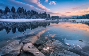 landscape, winter, trees, cold, snow, reflection